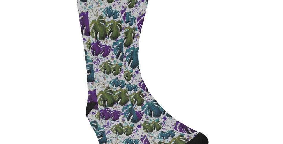 Monstera Teal & Purple - Unisex Socks (Made in Australia)