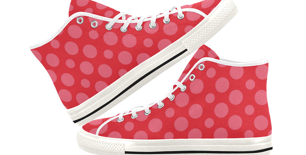 Red Dots -  Women's High Top Canvas Sneakers