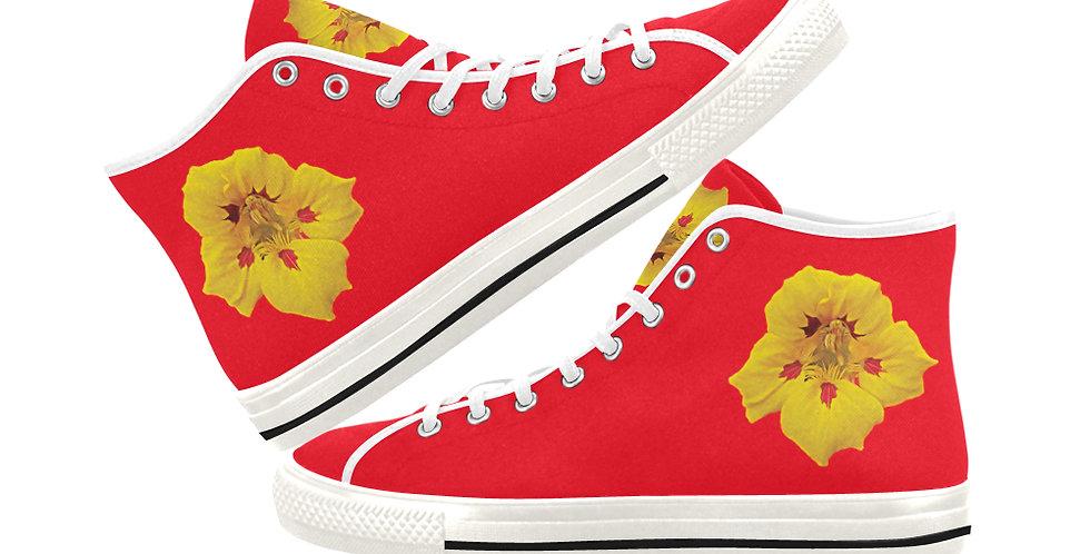 Ladybug Nasturtium - Women's High Top Canvas Sneakers
