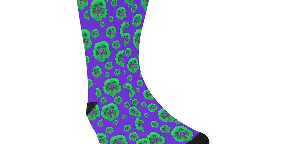 Poppies Purple/Green - Unisex Socks (Made in Australia)