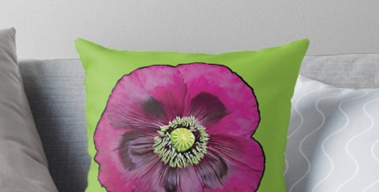 Purple Poppy Cushion Cover