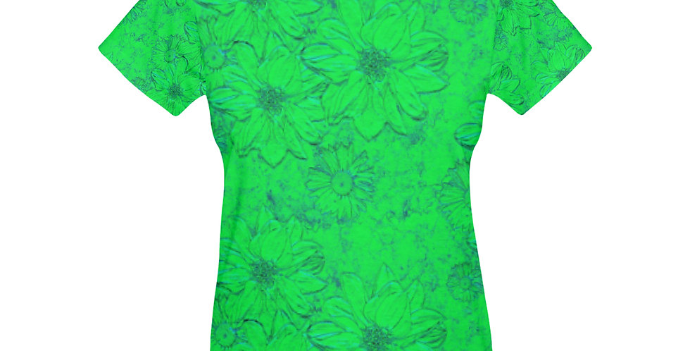 Embossed Floral Green - T-shirt