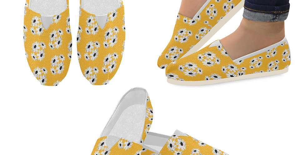 Bunch of Daisies Orange (small print) - Slip On Canvas Shoes