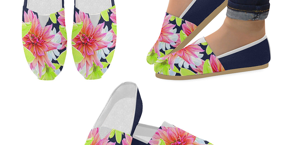 Magnolia Butterflies (navy sides) - Slip On Canvas Shoes