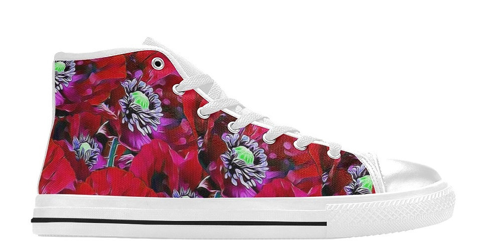Poppies Red - Women's High Top Canvas Sneakers