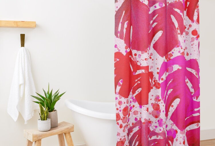Monstera Leaves Tickled Pink - Shower Curtain