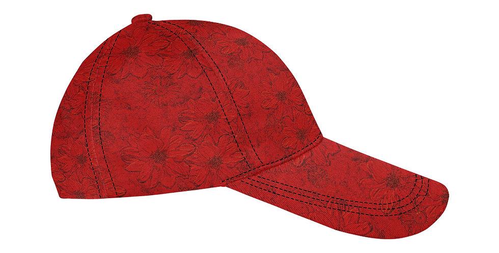 Embossed Floral Red - Baseball Cap