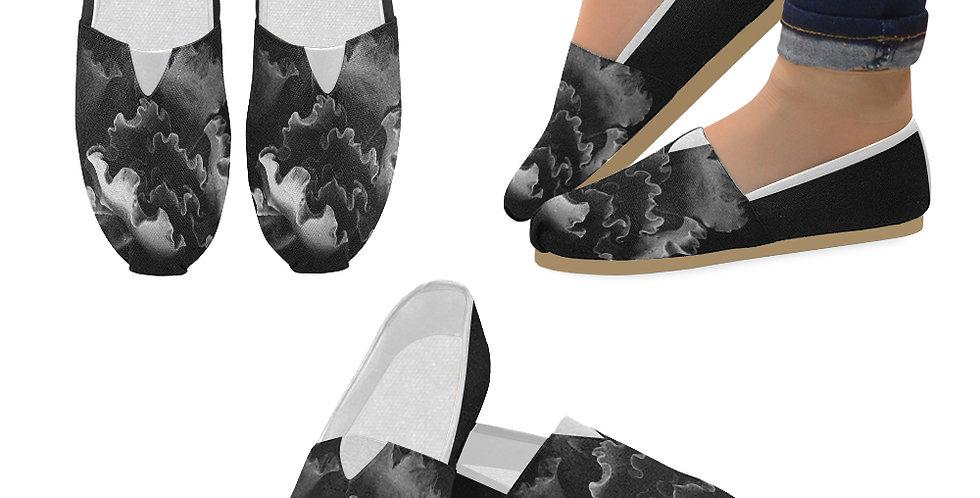 Blue Curl - Slip On Canvas Shoes