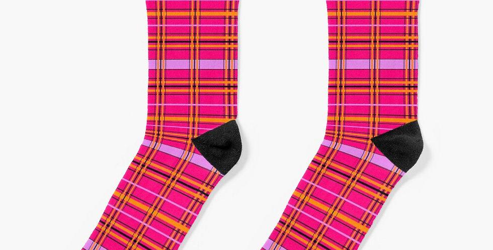 Tartan & Poppies - Orange & Pink - Tartan - Socks