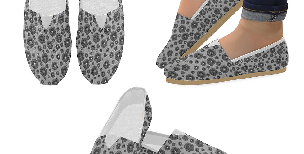 Poppies Grey - Slip On Canvas Shoes