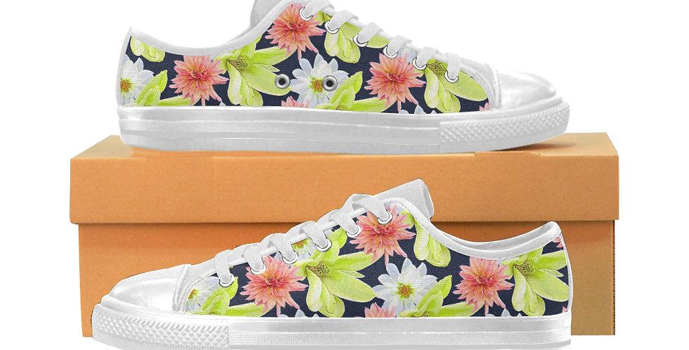 Magnolia Butterflies (small print) - Women's Canvas Sneakers