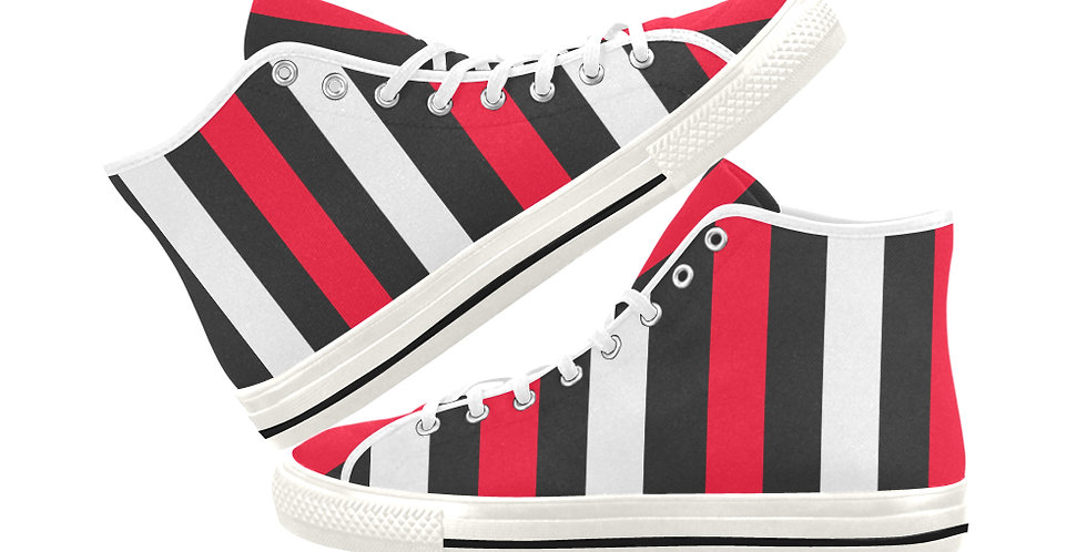 Bold Stripes -  Women's High Top Canvas Sneakers