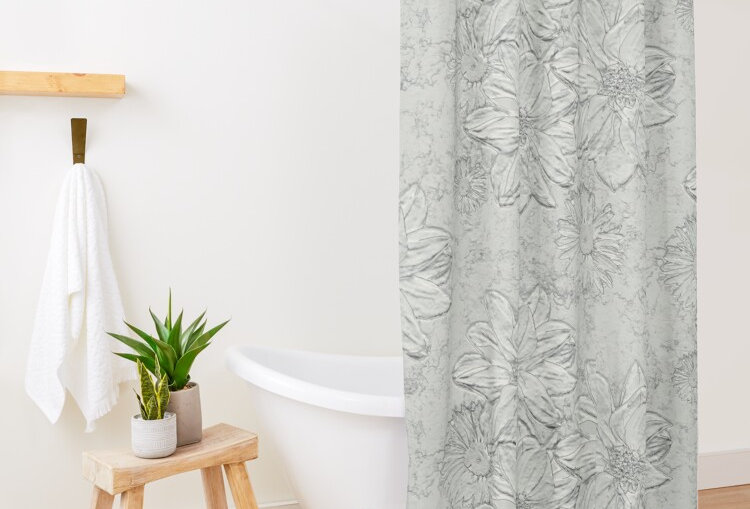 Embossed Floral Soft Grey - Shower Curtain