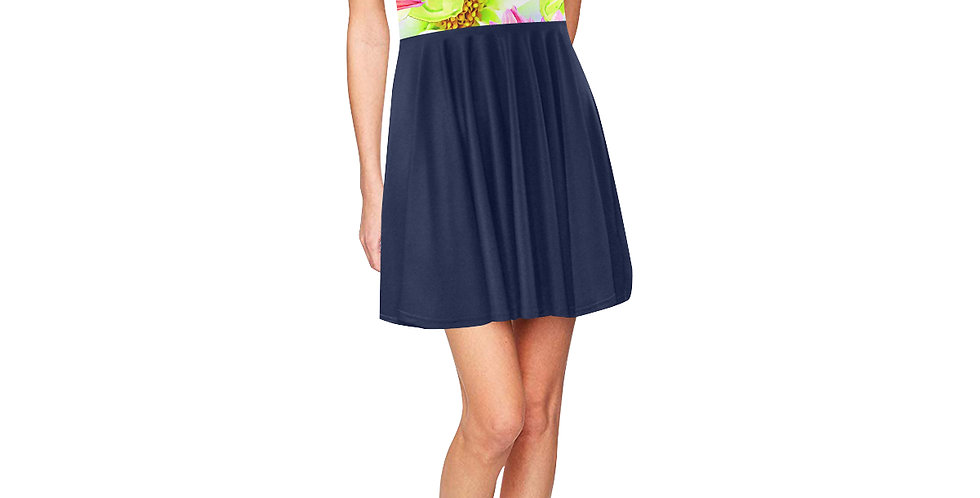 Magnolia Butterflies (navy skirt) - Skater Dress