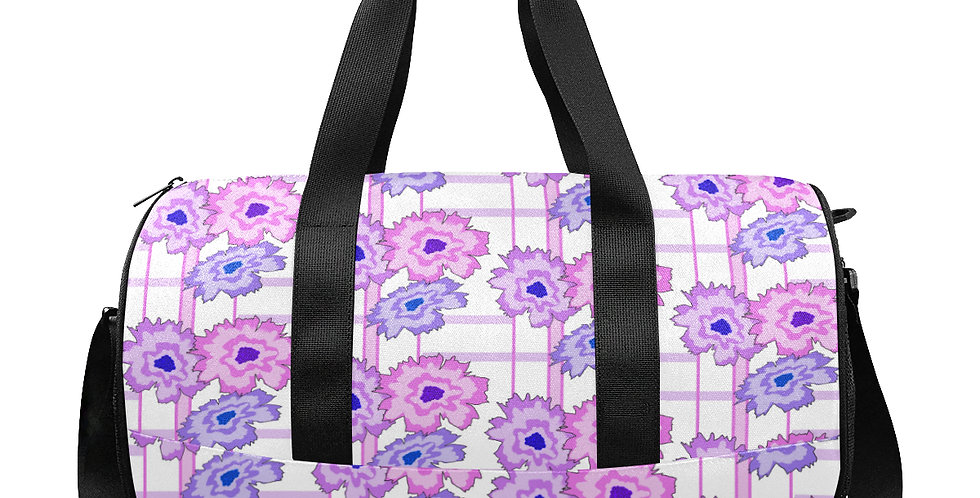 Floral Frenzy - Retro - Pink & M - Gym / Workout / Camping / Travel Duffel Bag