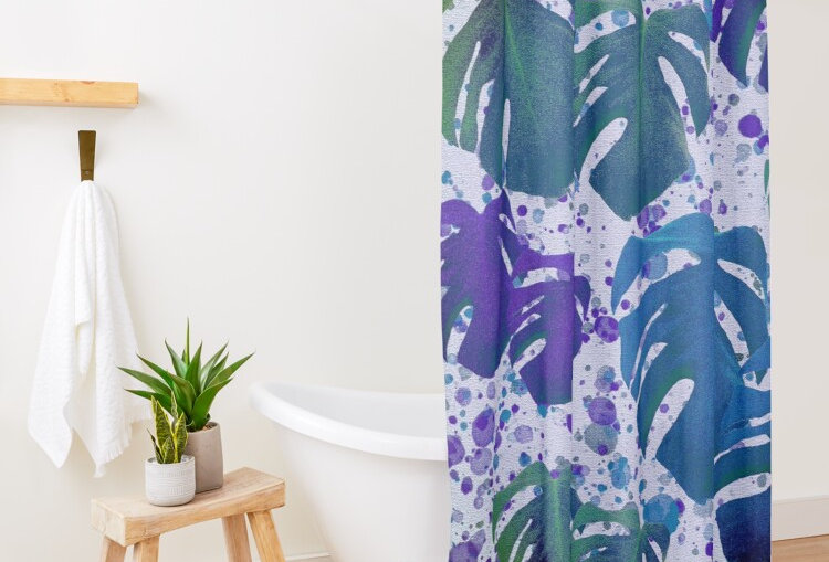 Monstera Leaves Got the Blues - Shower Curtain