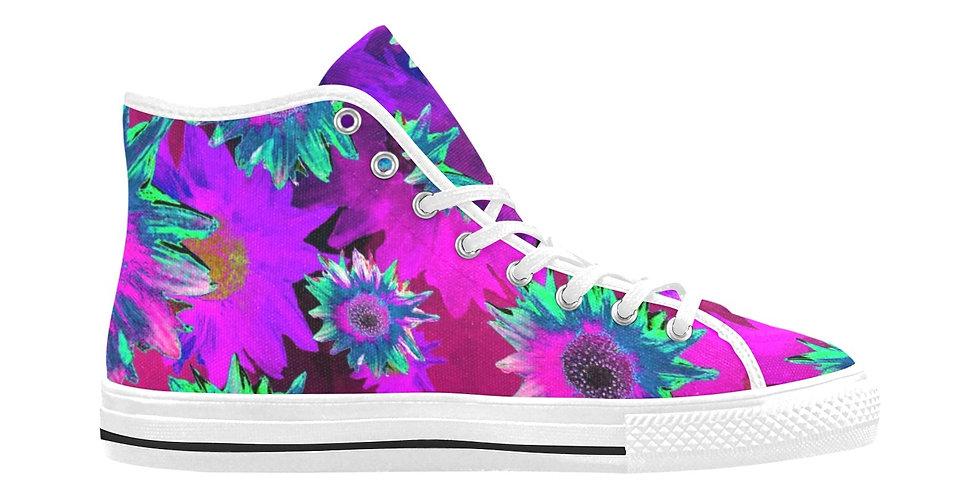 Strawflower Sizzle - Purple/Pink - Women's High Top Canvas Sneakers