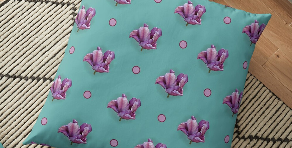 Blue Parrot Tulip & Dots - Cushion Cover
