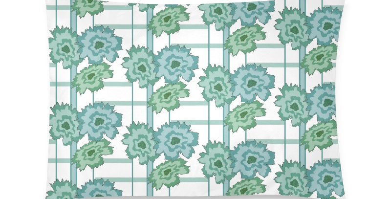 Flower Frenzy green/blue - Cushion Cover
