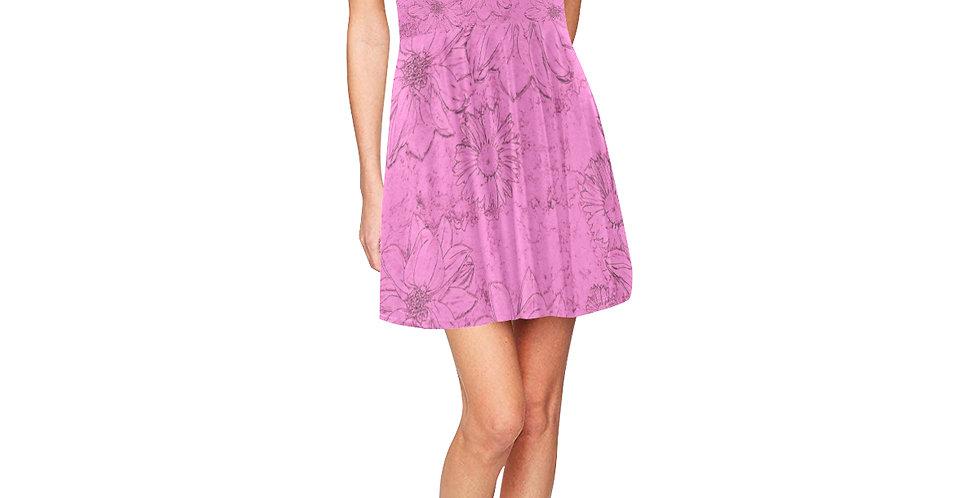 Embossed Floral Pink - Skater Dress