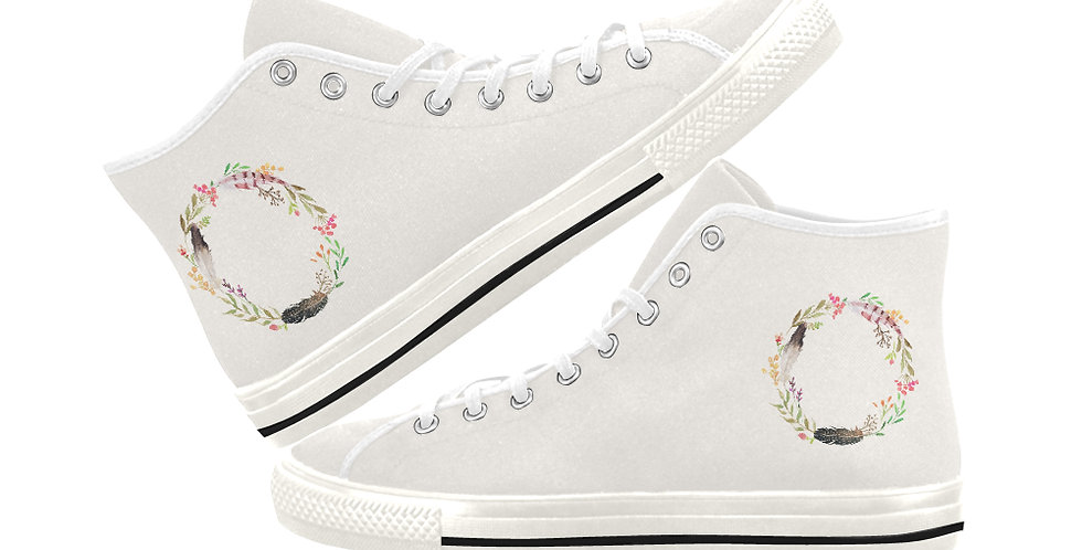 Boho Wreath - Women's High Top Canvas Sneakers