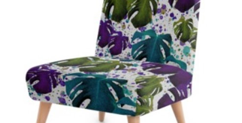 Monstera Leaves Purple/Teal - Occasional Chair