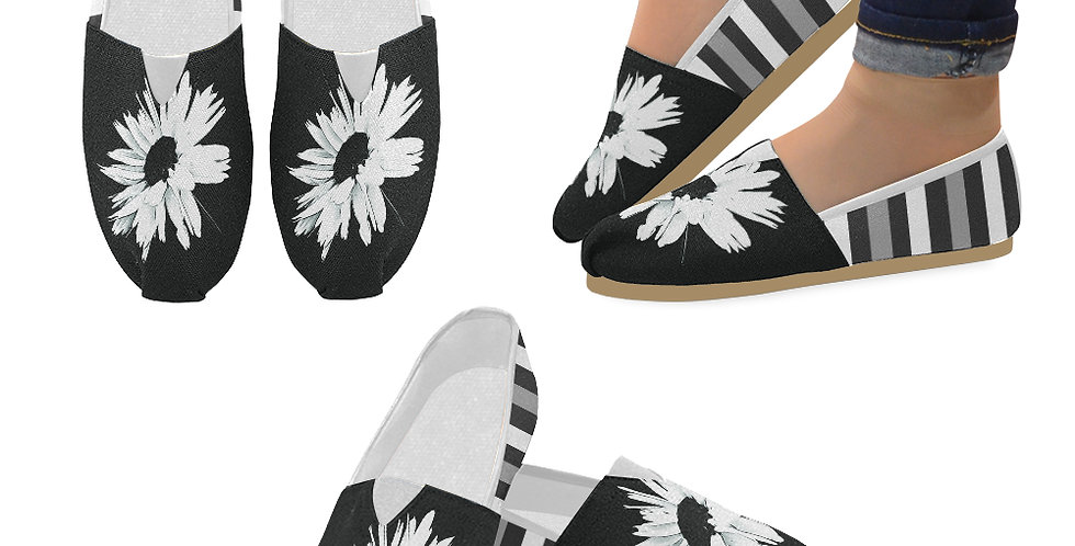 Bunch of Daisies Black and White with Stripes - Slip On Canvas Shoes