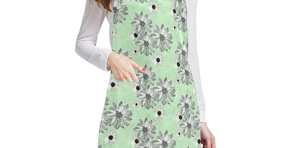 Floral Green Apron - Adjustable