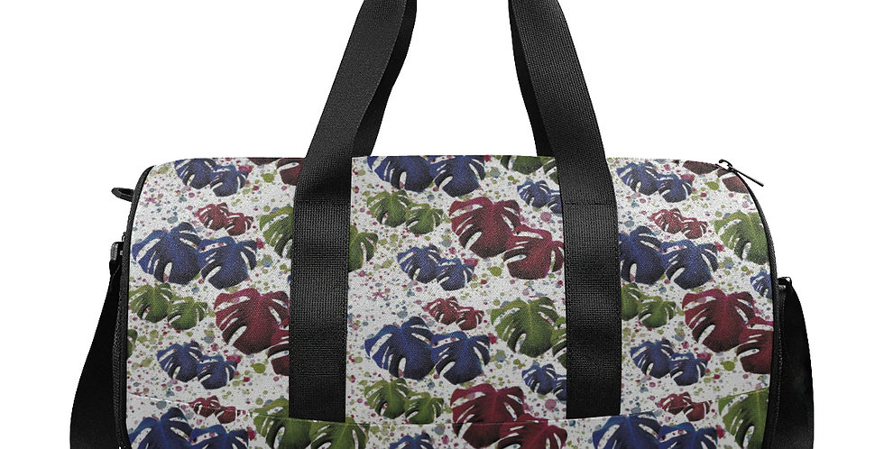 Monstera Leaves Red & Blue - Workout/Camping/Travel Duffel Bag
