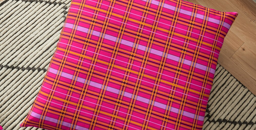 Tartan & Poppies - Orange & Pink - Tartan - Cushion Cover