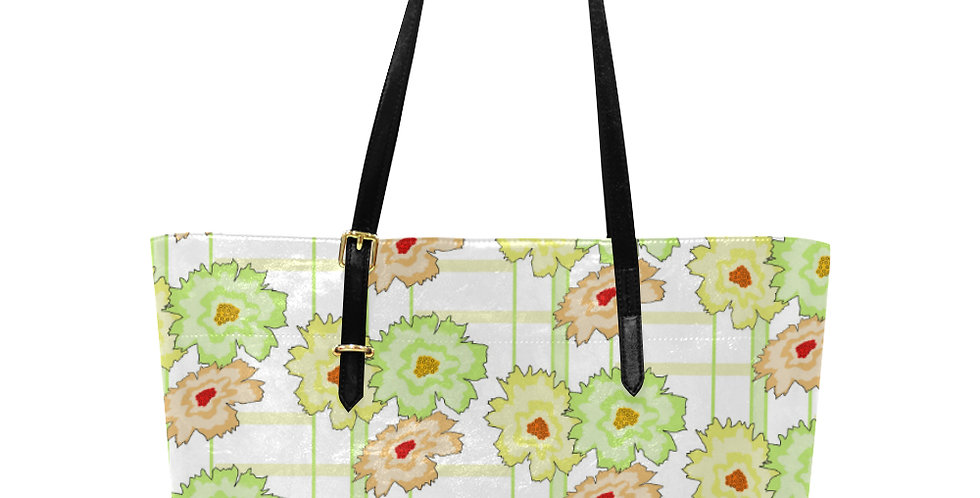 Floral Frenzy Peach & Green - Large Tote Bag