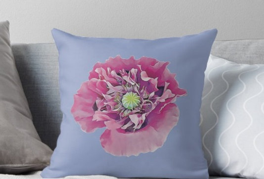 Pink Poppy on a Blue Background - Cushion Cover