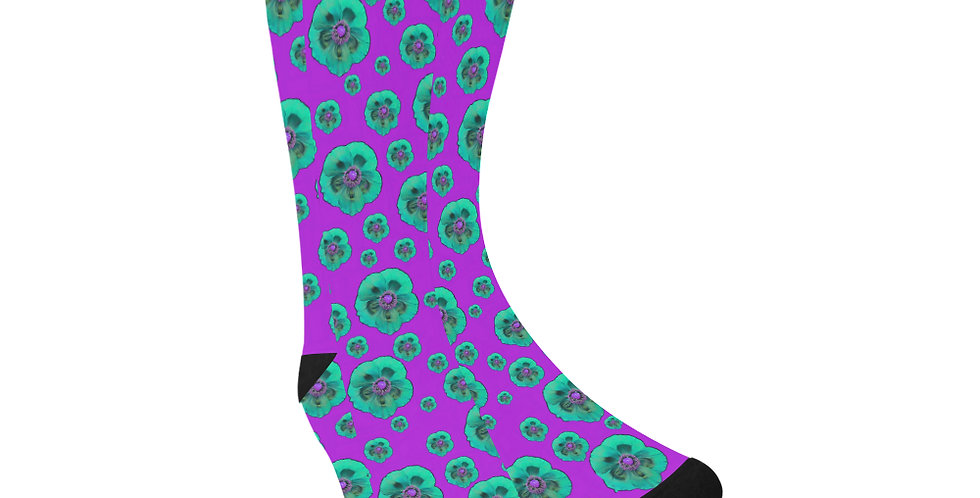Poppies Purple/Aqua - Unisex Socks (Made in Australia)