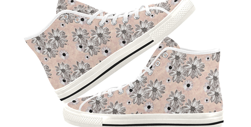 Floral Blush - Women's High Top Canvas Sneakers