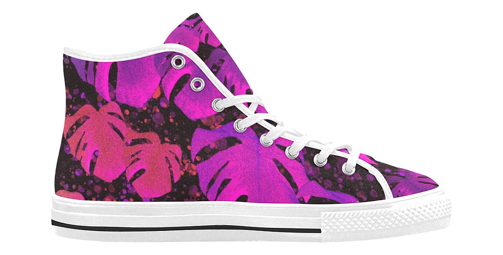 Monstera Leaves Passion - Women's High Top Canvas Sneakers