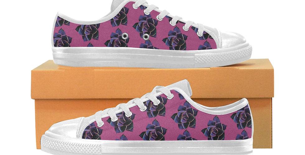 Pink Succulent - Women's Canvas Sneakers