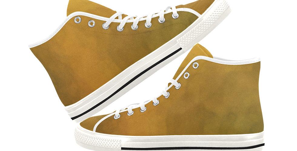 Bearded Iris Yellow - Women's High Top Canvas Sneakers