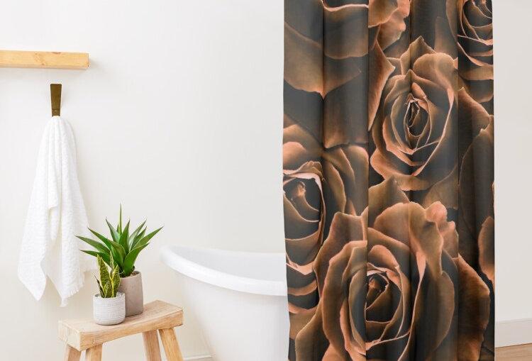 Velvet Roses Chocolate - Shower Curtain