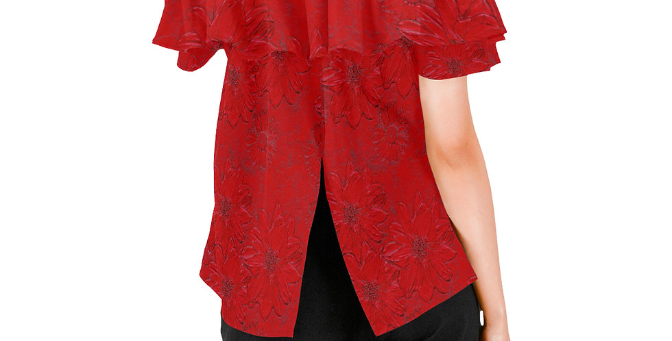 Red Embossed Floral - Women's Chiffon Blouse