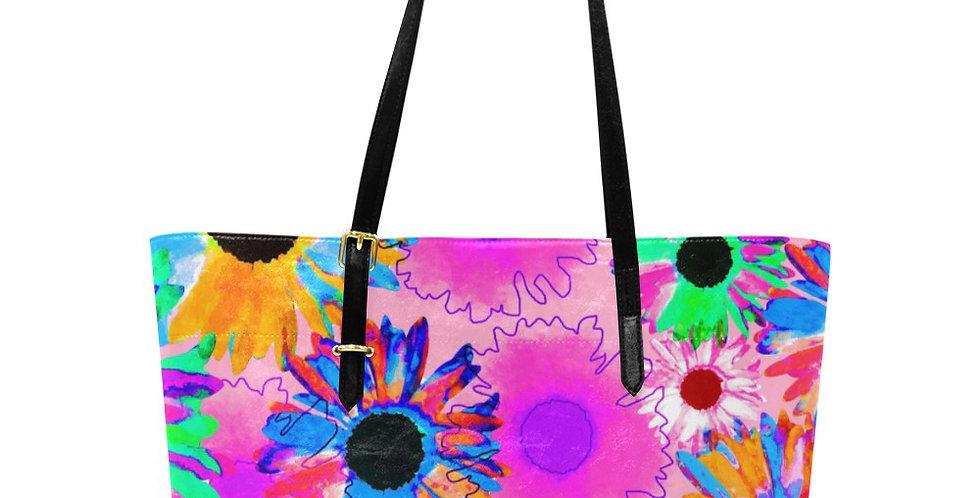 Wildflower Floral - Bright Pink - Large Tote Bag