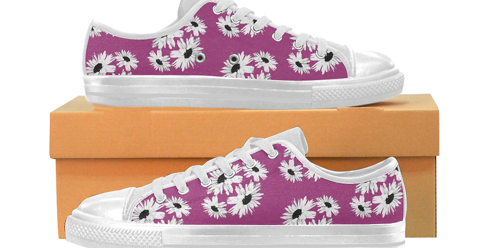 Bunch of Daisies Pink - Women's Canvas Sneakers