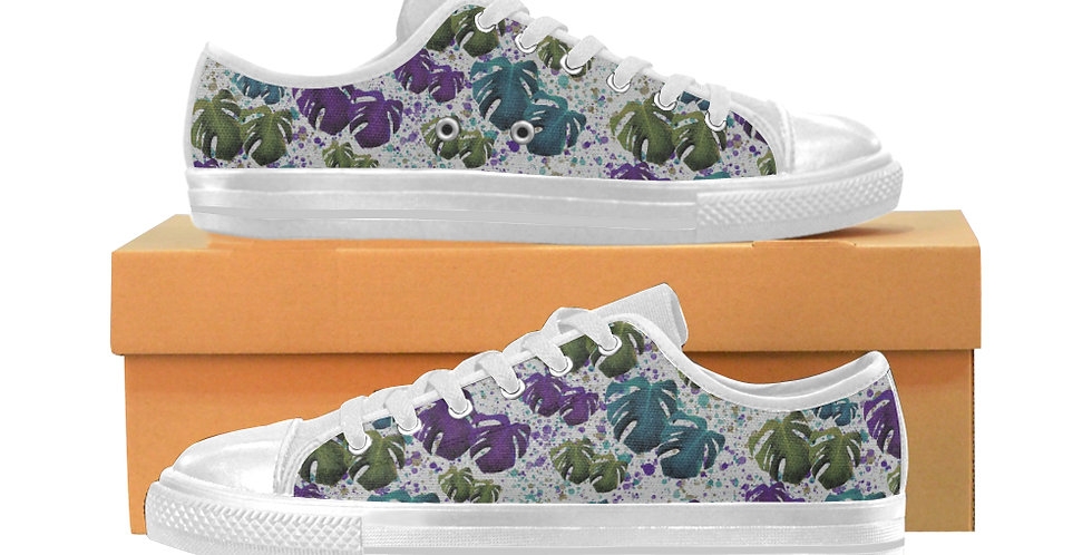 Monstera Teal & Purple - Women's Canvas Sneakers