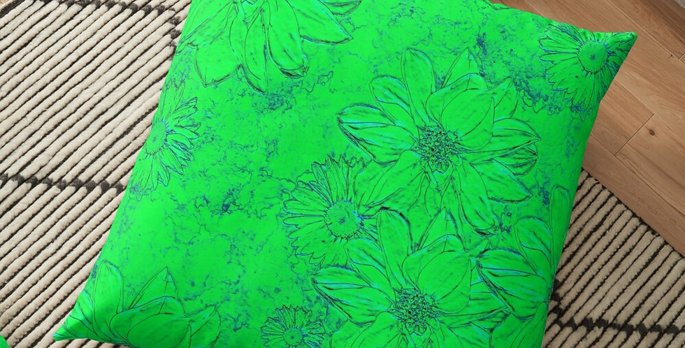 Embossed Floral Lime Green - Cushion Cover