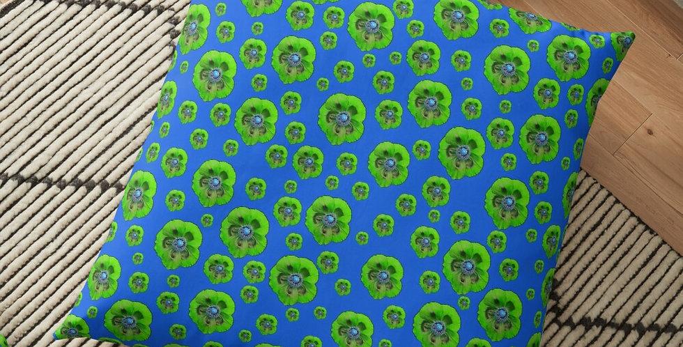 Flower Power - Blue / Green - Cushion Cover