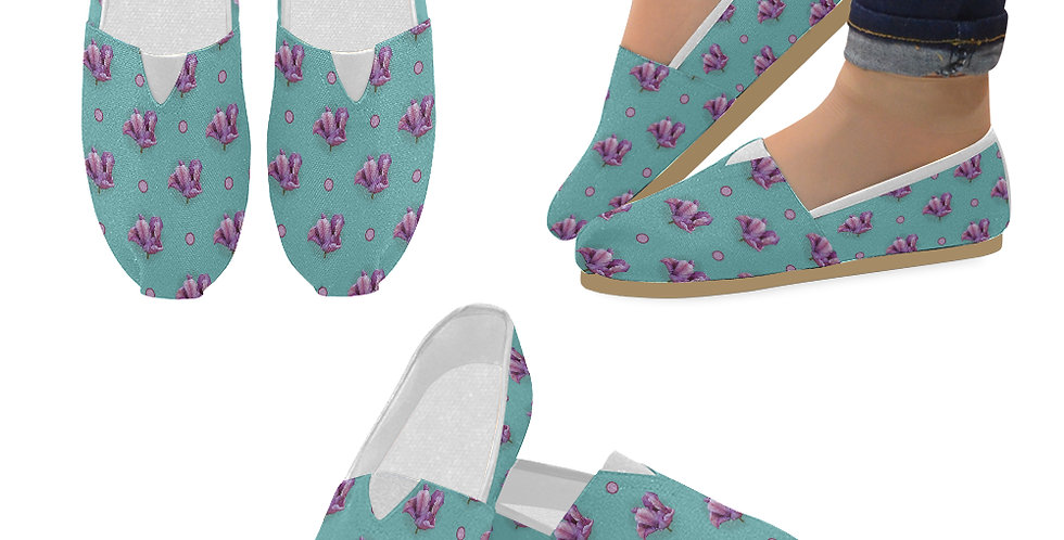 Blue Parrot Tulip - Slip On Canvas Shoes