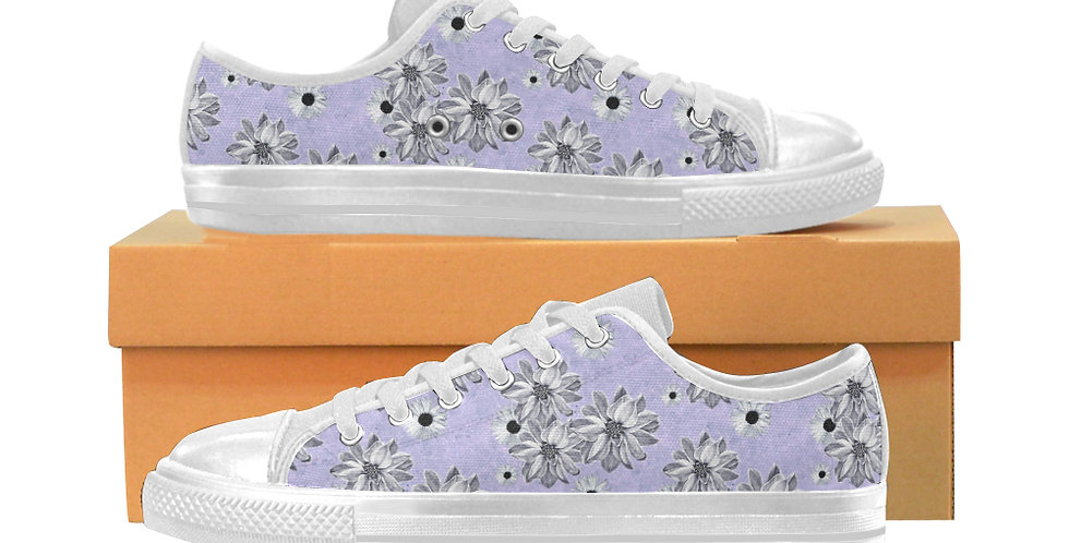Floral Mauve - Women's Canvas Sneakers