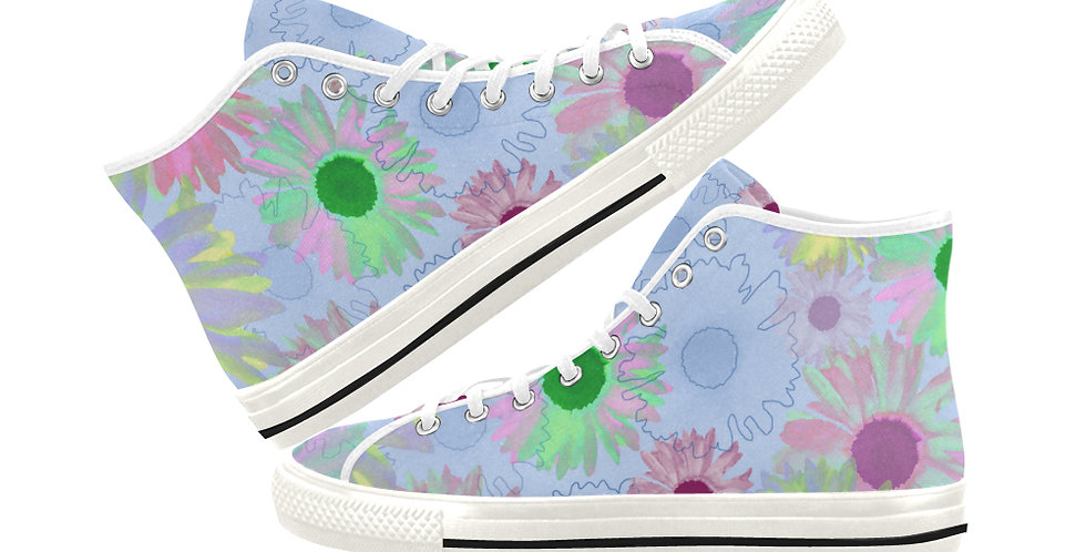 Wildflower Floral - Women's High Top Canvas Sneakers