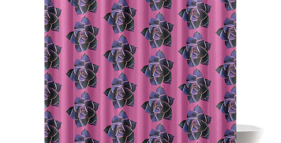 Pink Succulent (small print) - Shower Curtain