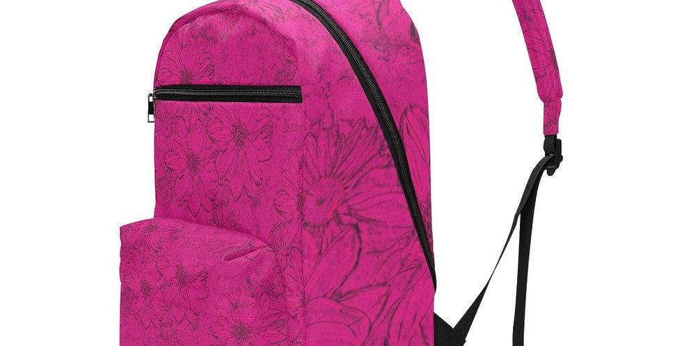 Embossed Flowers Deep Pink - Travel Backpack (Large Capacity)