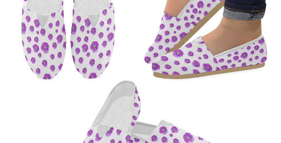 Pink Poppy on White Background (small print) - Slip On Canvas Shoes